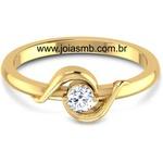 Anel Solitário de Diamante Dourados