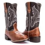 Bota Texana Masculina em Couro Marrom Anaconda Kapell