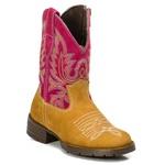 Bota Texana Feminina Infantil em Couro Caramelo/Rosa Kapell