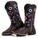Bota Texana Feminina em Couro Marrom/Azul 7253 Kapell