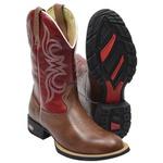 Bota Texana Masculina Cano Alto em Couro Legítimo Marrom e Vermelho Kapell