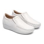 Sapato Feminino em Couro Branco Solado Anabela Linha Lady Comfort Kapell