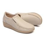 Sapato Feminino em Couro Marfim Solado Anabela Linha Lady Comfort Kapell