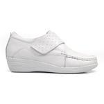 Sapato Feminino em Couro Branco Fechamento com Velcro Solado Anabela Linha Lady Comfort Kapell