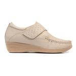 Sapato Feminino em Couro Marfim Fechamento com Velcro Solado Anabela Linha Lady Comfort Kapell