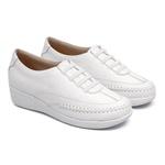 Sapato Feminino em Couro Branco Ajuste com Elástico Solado Anabela Linha Lady Comfort Kapell