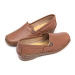 Sapato Feminino em Couro Whisky Slip On Solado Anabela Linha Lady Comfort Kapell