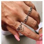 Trio de Anéis Escrito Abençoada Por Deus em Prata 925