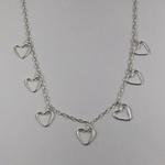 Gargantilha Choker com Pingentes de Coração em Prata 925