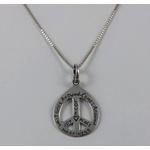 Pingente Símbolo da Paz Escrito em Prata 925