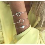Bracelete Ajustável com Círculo em Prata 925