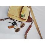 Bolsa Tira Colo em lona com detalhes em couro - Modelo Pochete Cartucheira