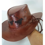 Chapéu de couro Legitimo Bovino Modelo Country laser cavalos