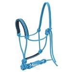 Cabresto para Cavalo 7 nós em Nylon Azul Turquesa c/ Cabo Sport Equine 4590