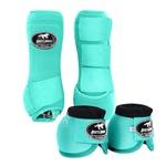 Kit Dianteiro Cloche e Caneleiras Color Verde Água Boots Horse 4960