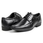 Sapato Social Calprado Mestiço Preto em Couro Legítimo