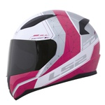 CAPACETE LS2 RAPID CANDIE WHITE/SILVER/CHERRY