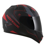 CAPACETE NORISK STUNT FF391 STRIPES MATT BLACK/RED