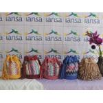 Bolsa Com Franjas em Camursa com Detalhes em Tecido Colorido