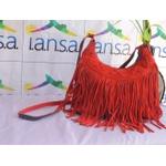 Bolsa com Franjas em Camurça Vermelha