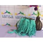 Bolsa com franjas em camurça azul turquesa