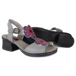 Sandália em Couro Marjorie Aço J.Gean Outlet