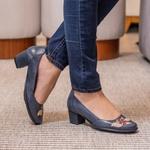 Sapato Ibizza Médio Em Couro Marine J.Gean