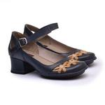 Sapato New Kelly DarkBlue Em Couro J.Gean
