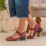 Sapato feminino boneca J.Gean Kelly salto grosso em couro cor Rouge cod. CK0117