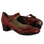Sapato Ibizza Médio Em Couro Rouge J.Gean