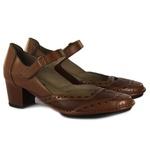 Sapato Ibizza Médio Em Couro Amêndoa J.Gean