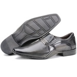 Calçado Sapato Social Em Couro Cinza Escuro Kéffor Linha Detroit