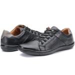 Calçado Sapatênis Casual Masculino Em Couro Preto Kéffor Linha Fênix