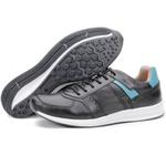 Calçado Sapatênis Casual Masculino Preto e Azul Kéffor Linha Jogger