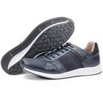Calçado Sapatênis Casual Em Couro Azul Kéffor Linha Jogger