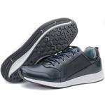 Calçado Sapatênis Masculino Em Couro Azul Kéffor Linha Jogger