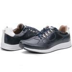 Calçado Sapatênis Casual Masculino Em Couro Azul Kéffor Linha Jogger