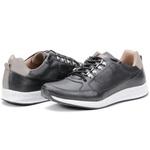 Calçado Sapatênis Casual Masculino Em Couro Preto Kéffor Linha Jogger