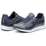 Calçado Tênis Casual Em Couro Azul Marinho Kéffor Jogger