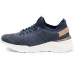 Sneaker Masculino Em Couro Azul e Neoprene Kéffor Linha Rav