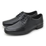 Sapato Social Fortaleza Couro com Cadarço - Preto com Carteira Gratis
