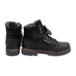 Bota Coturno em couro Mega Boots 6022 Preto-Café