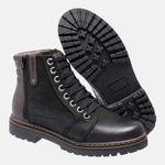 Bota Coturno em Couro Mega Boots 6026 Preto-Cafe