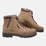 Bota Coturno em Couro Mega Boots 6027 Kaki-Cafe
