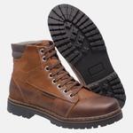 Bota Coturno em Couro Mega Boots 6028 Taupe-Cafe