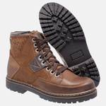 Bota Coturno em Couro Mega Boots 6029 Taupe-Cafe