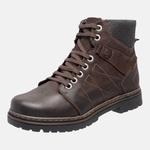 Bota Coturno em Couro Mega Boots 6030 Cafe-Preto