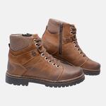 Bota Coturno em Couro Mega Boots 6030 Taupe-Chocolate
