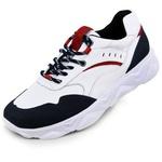 Tenis Tracker em Couro Marinho-Branco-Vermelho