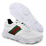 Tenis Tracker em Couro Branco-Verde-Vermelho